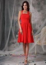 Tomato Red Empire Halter Homecoming Dress Ruching