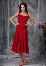 Wine Red Bow Halter Dress for Prom Party Tea-length
