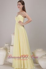 Light Yellow Empire Maxi Dress for Bridesmaids Sweetheart