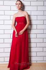 Wine Red Empire Chiffon Maxi Dress Plus Size for Maids