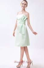 Aqua Green Bow Dress for Matron of Honor Mini-length