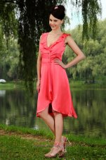 Watermelon Red Front Slit Prom Homecoming Dress V-neck