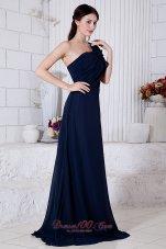 Navy Blue One Shoulder Formal Evening Dress Ruch Brush