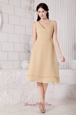 Wheat Custom Color V-neck Bridesmaid Dress Tea-length