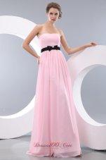 Baby Pink Empire Bow Belt Bridesmaid Dress Maxi Colored