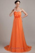 Orange Empire Plus Size Prom Dress Handmade Flowers Brush