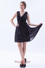 Dim Grey Empire Bridesmaid Dress V-neck Mini-length