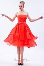 Orange Red Empire Prom Dress Beaded Belt Knee-length