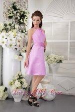Lavender High-neck Dress for Bridesmaids Knee-length