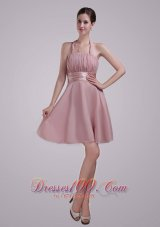 Rosy Brown Halter Prom Homecoming Dress for Juniors Ruch
