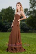 Sienna Brown Sheath Bridesmaid Dress Strapless Brush