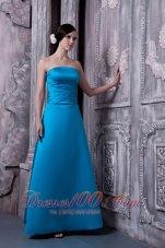 Aqua Blue Long Dress for Matron of Honor Strapless