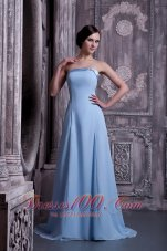 Light Blue Trimmed Neckline Prom Homecoming Dress Lace up