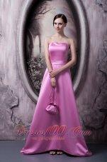 Rose Pink Satin Bow Bridesmaid Dress Strapless Brush