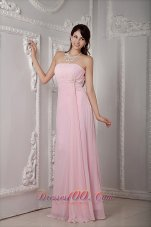 Brooch Empire Waist Bridesmaid Dress Baby Pink Crystal