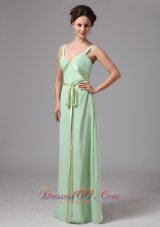 Apple Green Sash Straps Prom Dress For Wedding Guests