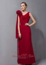 Watteau Train Wine Red Mother Of The Bride Dresses Floral