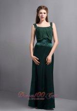 Square Halter Green Prom Formal Wears Column Ribbons