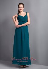 Strap Ankle-length Teal Prom Dress Empire Ruching