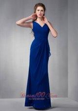 Dark Blue V-neck Bridesmaid Formal Gowns Pleats Chiffon