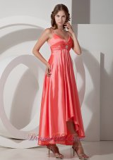 Watermelon Red Spaghetti Straps Prom Dress Asymmetrical