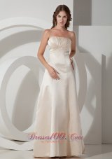 Off White Gather Bridesmaid Dress Strapless Ruch
