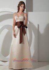 Champagne V-neck Bridesmaid Dress Chocolate Sash