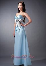 Ruching Sky Blue Bow Bridesmaid Dress Sweetheart Colored