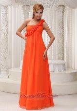 Floral One Shoulder Orange Red Dress for Bridesamids