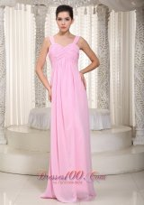 Straps Empire Misty Rose Pink Prom Dress Maxi Ruch