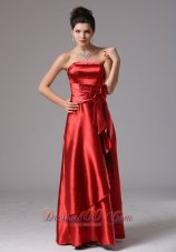 Layer Wine Red Column Bridesmaid Dress With Bows