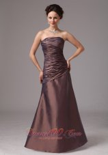 Tan Ruching Mother Of The Bride Dress For Custom Made
