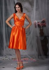 V-neck Knee-length Orange Red Prom Dress Column