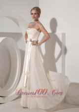 Crystal Off White Mother of the Bride Dress Empire