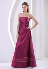 Side Gather Violet Red Prom Evening Dress for Formals