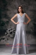 Sheath V-neck Silver Grey Dress for Matron of Honors