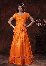 Square Sleeved Orange Mother Of The Bride Dress Bow