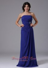 Pleated Clasp Peacock Blue Prom Dress Crystal Strapless