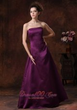 Sheath Strapless Purple Bridesmaid Dress Layered