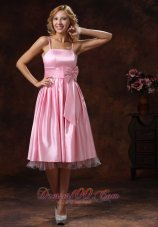 Tea-length Flounced Baby Pink Bridesmaid Dress Bow Sash