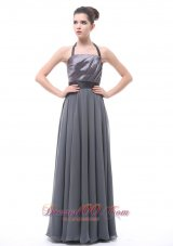 Halter Dark Grey Belt Bridesmaid Dress Ruffles 2013