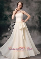 Empire Strapless Off White Prom Evening Wears Sash