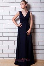 V-neck Black Chiffon Dress for Matrons of Honor