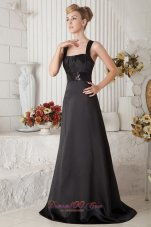 Black Prom Dress A-line Straps Brush Train Beaded