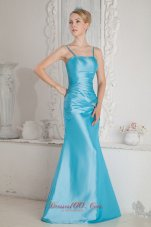 Aqua Blue Column Straps Bridesmaid Dress Beads Ruched