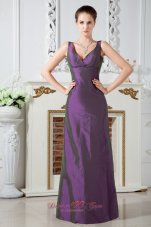 Dark Orchid V-neck Ruch Mother Of The Bride Dress Column