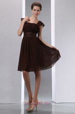 Saddle Brown Square Mother Of The Bride Dress Knee-length