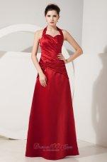 Dark Red Empire Halter Ruch Bridesmaid Dress Floor-length