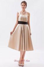 Champagne Princess Bridesmaid Dress One Shoulder Tea-length