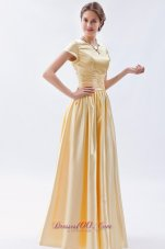 Champagne Column Scoop Beading Maid of Honor Dress